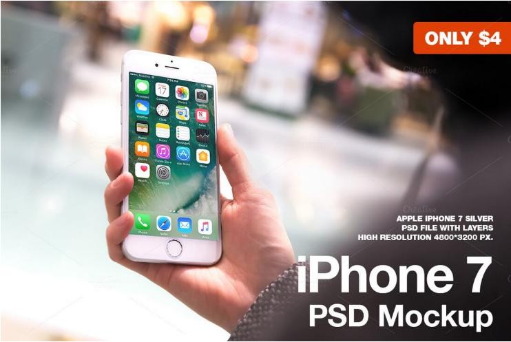 iPhone 7 Silver PSD Mockup