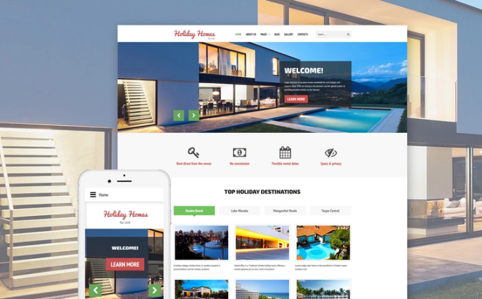 Holiday Homes - Real Estate & Rental Services Joomla Template