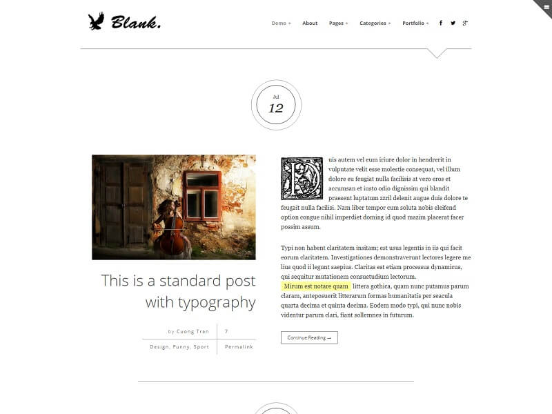 Blank Minimalist WordPress Themes