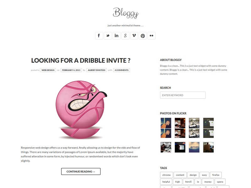 Bloggy WP Minimalist WordPress Themes