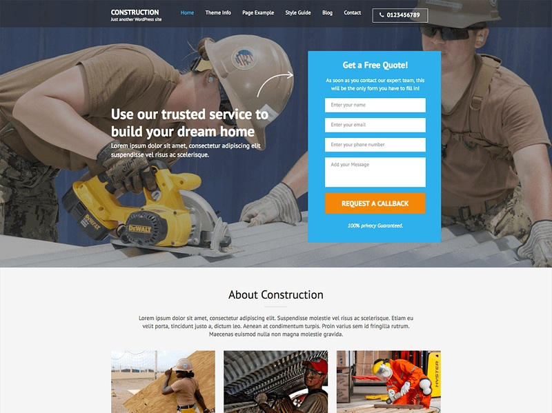 Construction Landing Page best Free WordPress Themes