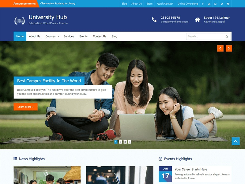 University Hub best Free WordPress Themes