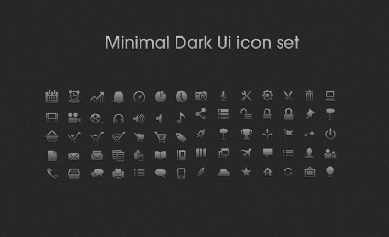 Free Download Minimal Dark UI icon set