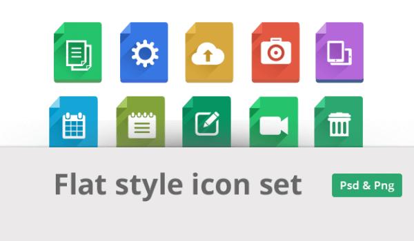 Modern Flat Style Icon Set