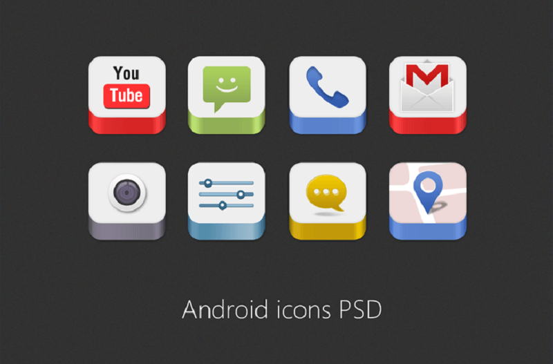 Android Icons PSD for Free Download
