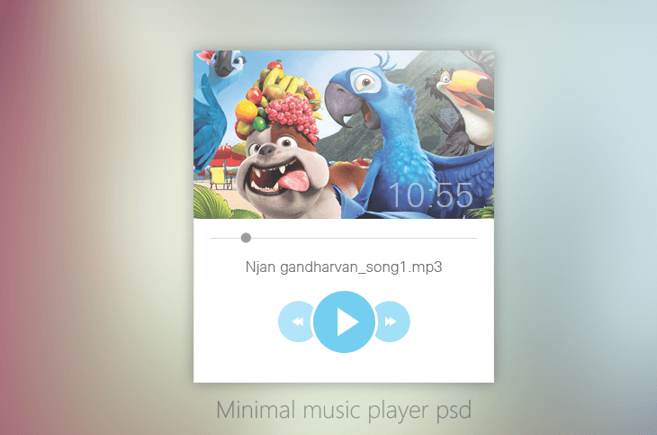Minimal Music Player UI Design PSD for Free Download