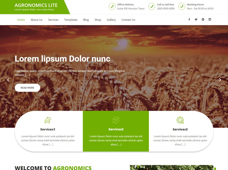 Agronomics Lite Free Environmental WordPress Themes