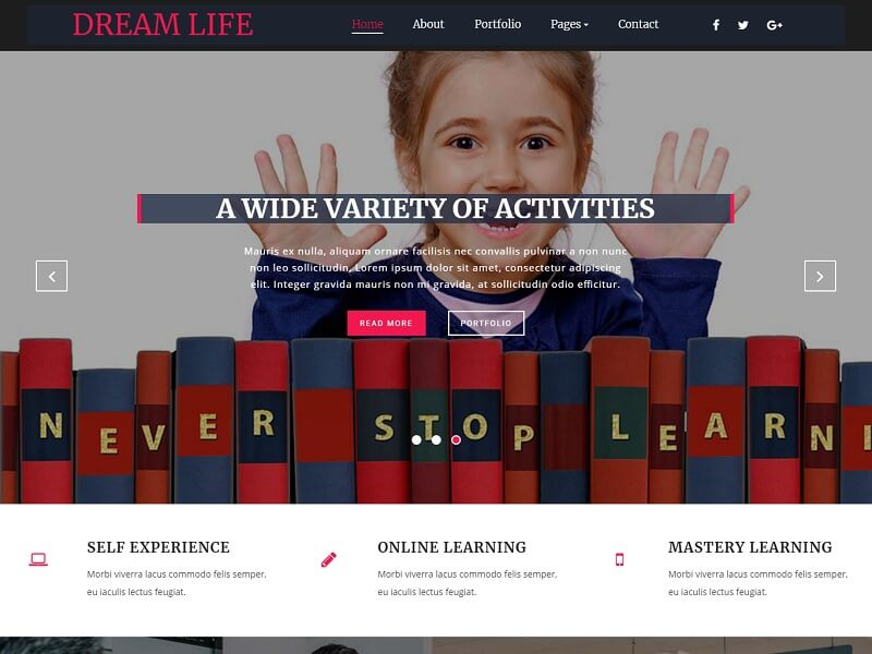 Free Education HTML Website Templates