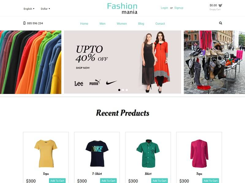 Fashion Mania Free Ecommerce Website Template