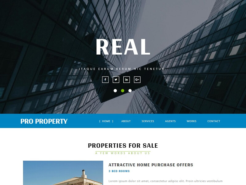 Free Real Estate HTML Website Templates