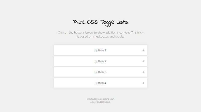 Pure CSS Toggle List
