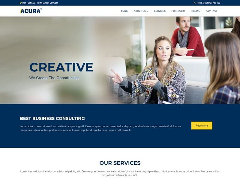 Acura Free HTML Website Templates