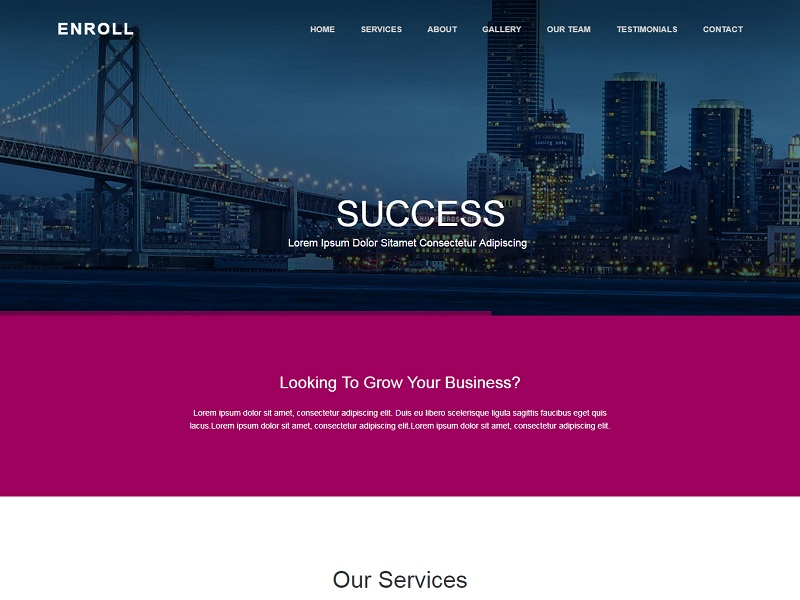 Enroll Free HTML Website Templates