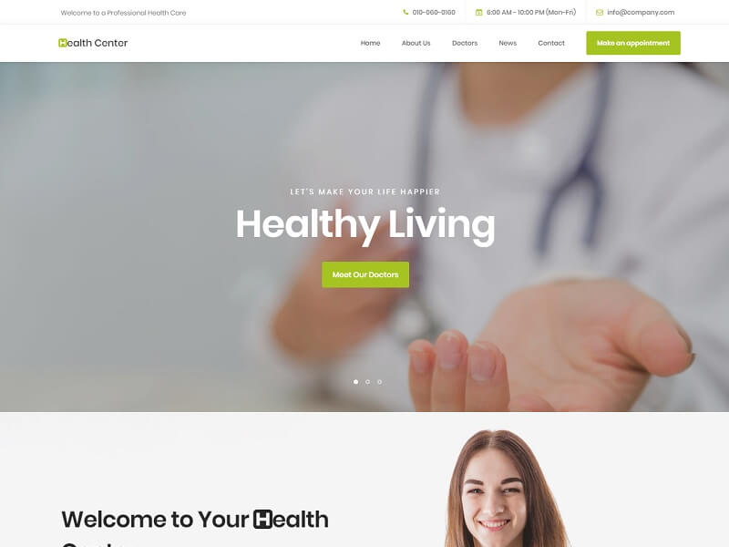 Health Center Free HTML Website Templates