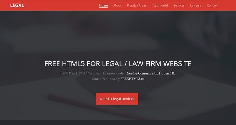 Free Lawyer HTML Website Templates
