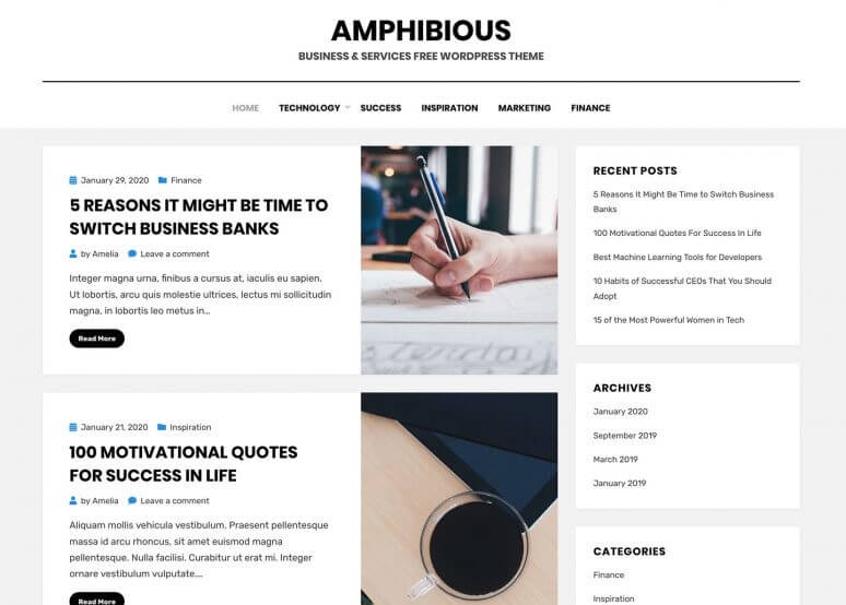amphibious best Free WordPress Themes