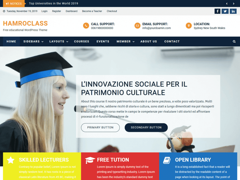 hamroclass best Free WordPress Themes