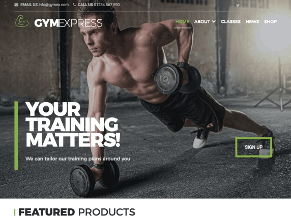 Gym Express Free Sports WordPress Themes