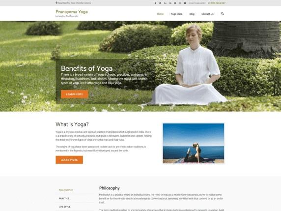 Pranayama Yoga Free Sports WordPress Themes
