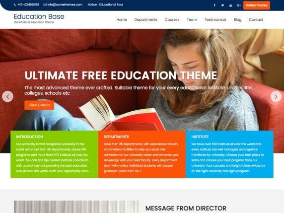 Education Base Free Education WordPress Themes