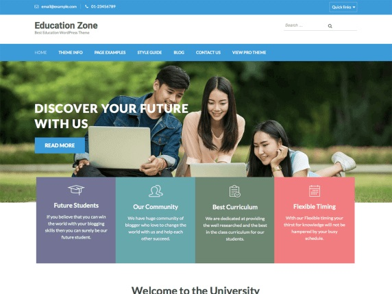 Education Zone Free Education WordPress Themes