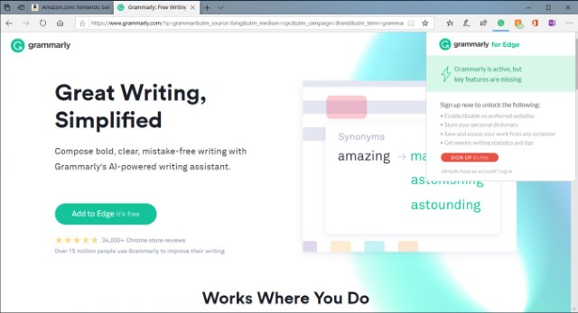 Grammarly Best Microsoft Edge Browser Extensions