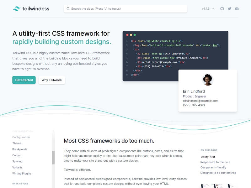 Tailwind CSS Free HTML CSS Frameworks