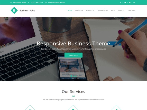 Business Point 1 Free Landing Page WordPress Theme