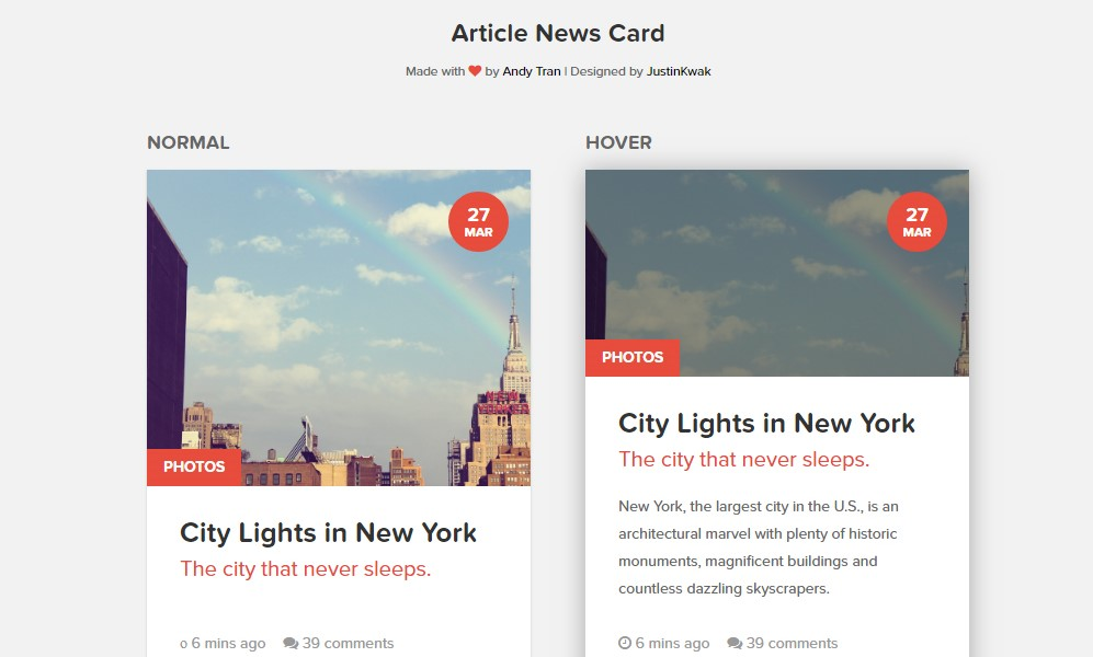 CSS Cards Article News Card