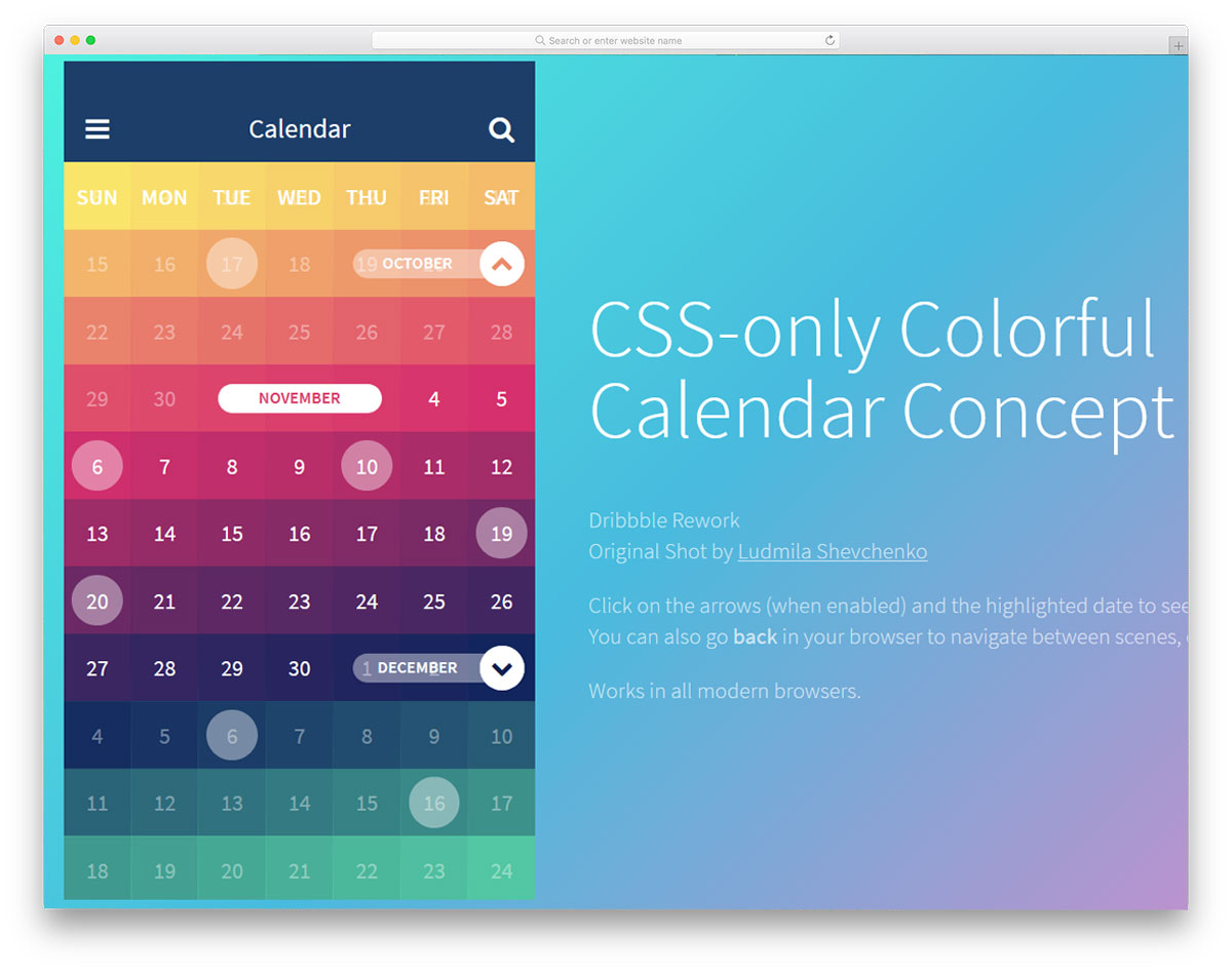 CSS only Colorful Free HTML CSS Calendars