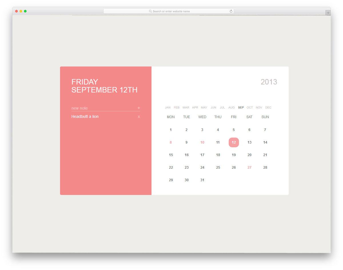 calender Free HTML CSS Calendars