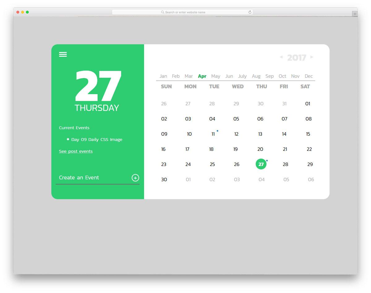 Daily CSS Calendar