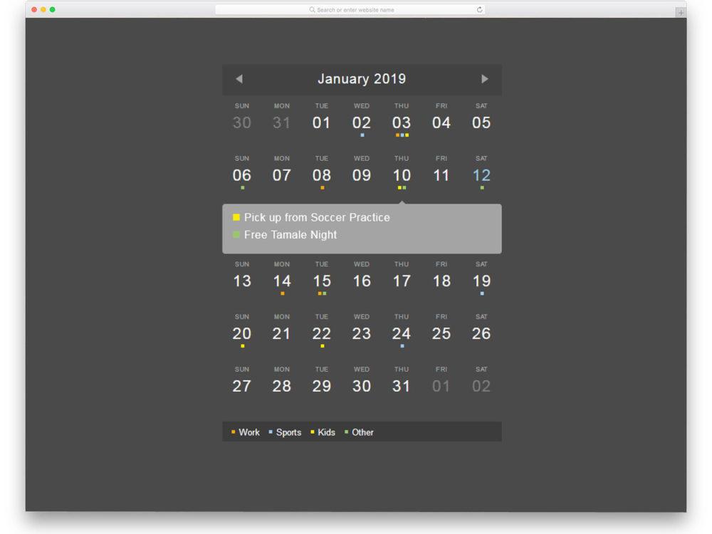 Event css calendar