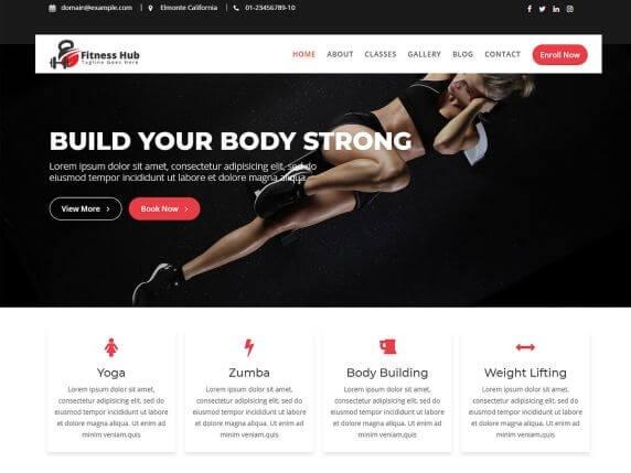 Fitness Hub Free Fitness WordPress Themes