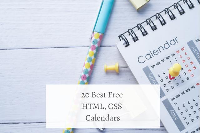 20 Best Free HTML CSS Calendars