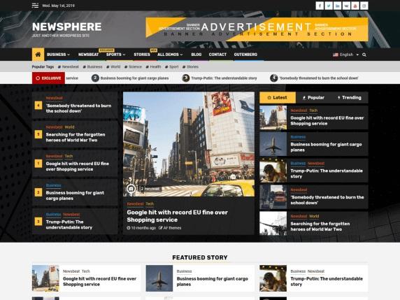 Newsphere Free Magazine WordPress Theme