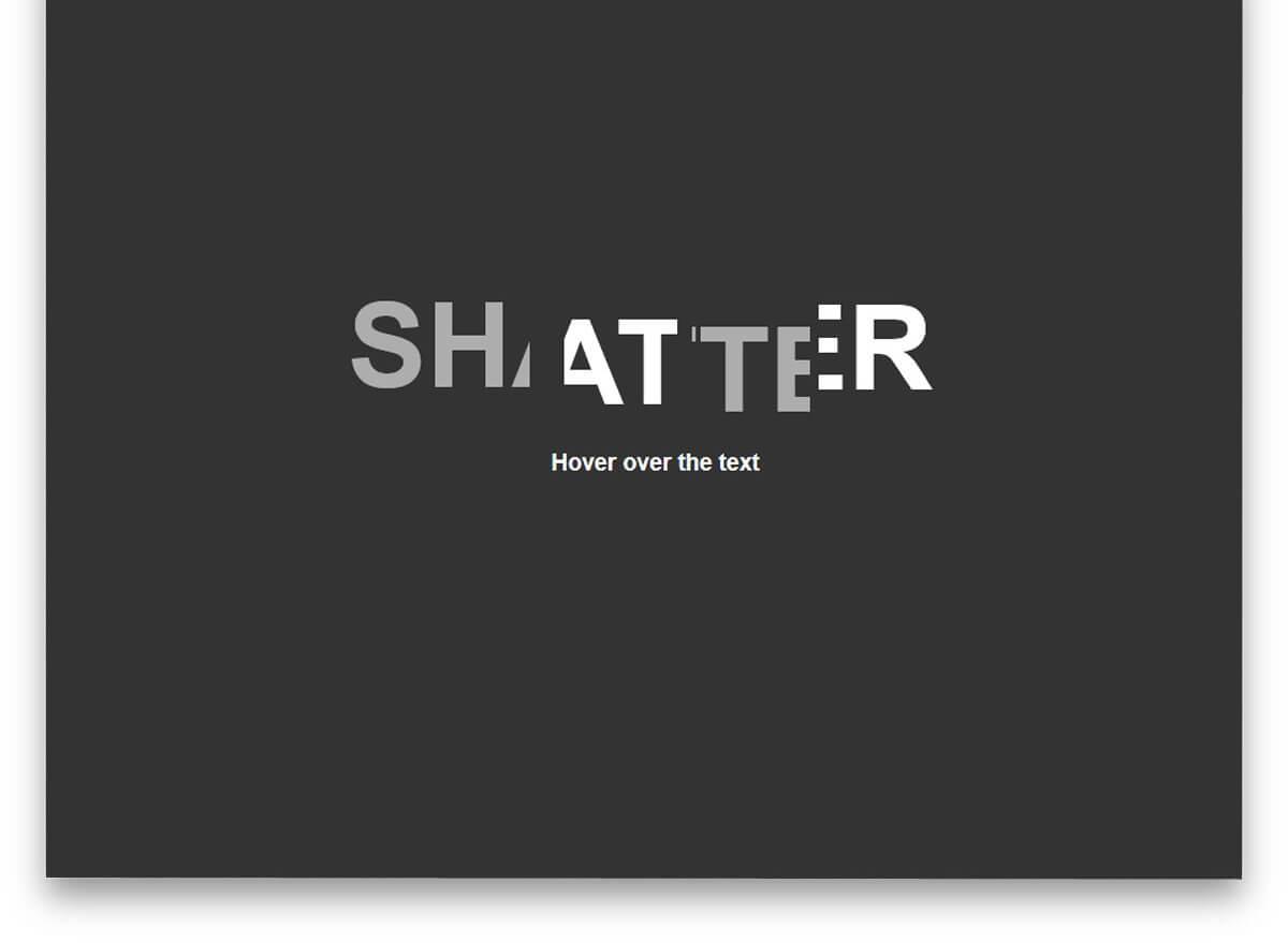 Shatter Text Effect CSS text effects