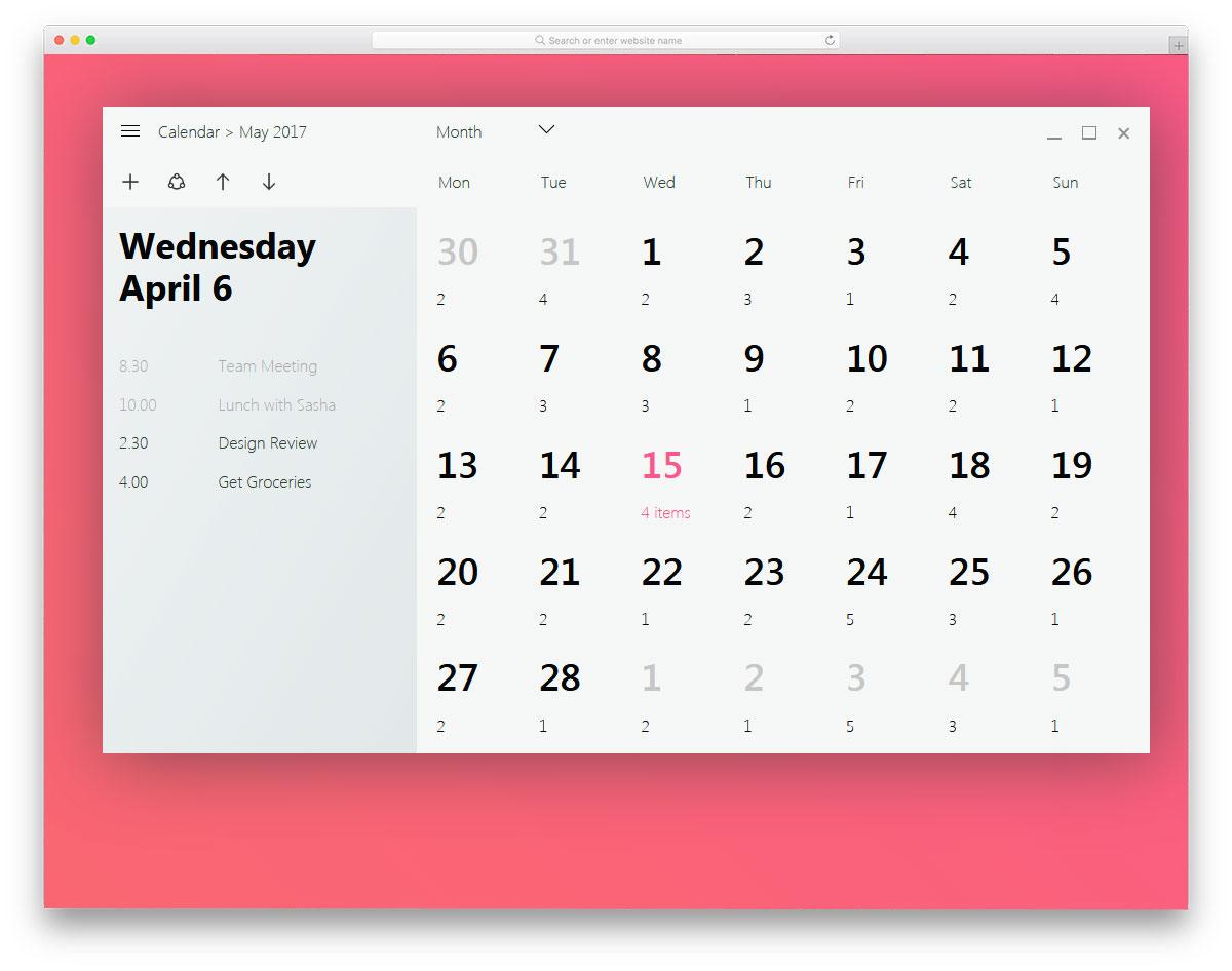 Fluent Design Free HTML CSS Calendars