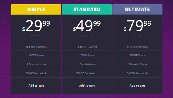 pricing tables CSS table templates