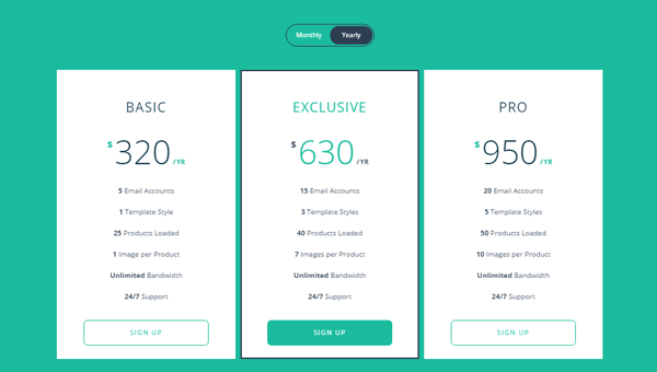 responsive flip pricing table CSS table templates