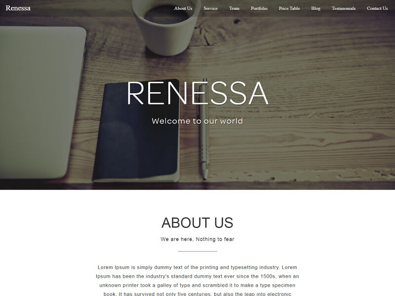 Renessa Free Multipurpose HTML Website Template