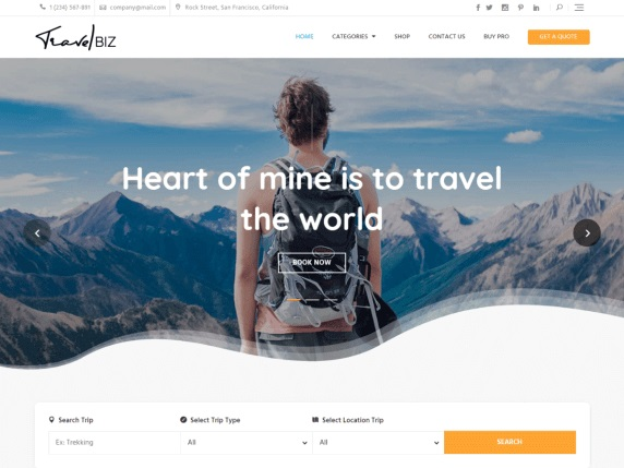 Travelbiz free travel blog Theme