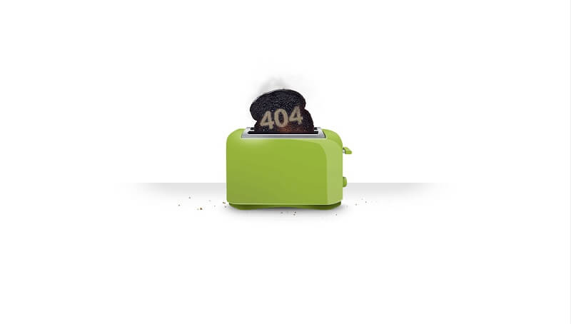 404 Error Page Smoke From Toaster