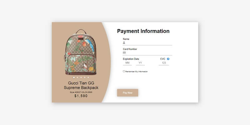 Gucci Backpack CSS Checkout Forms