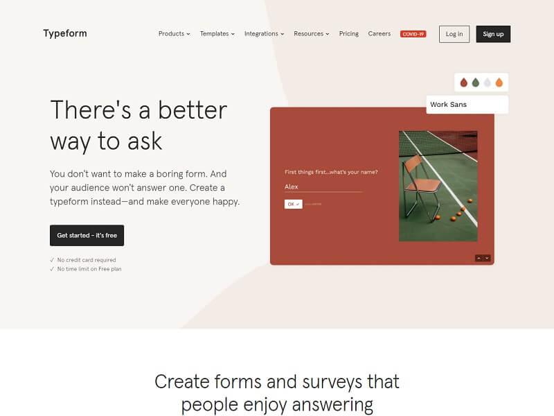 Typeform Google forms alternative