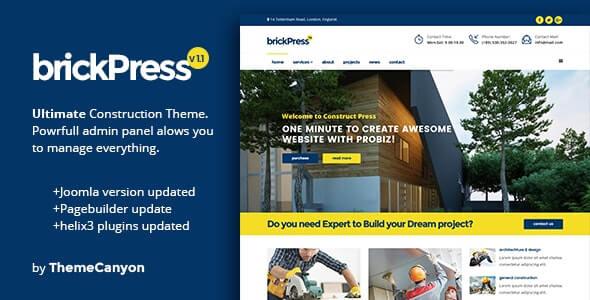 BrickPress Joomla Theme For Construction Business