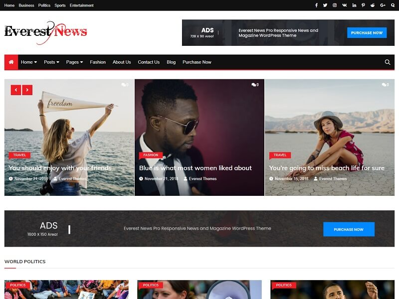 Everest News Free Newspaper Theme For WordPress