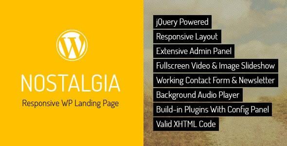 Nostalgia Landing Page Theme For WordPress