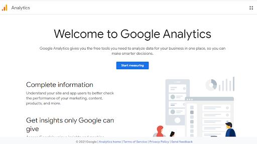 welcome screen of google analytics