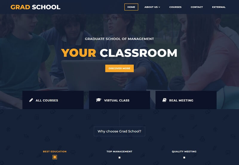 Grad School Free Education HTML Template